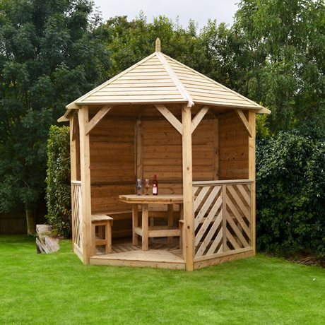 Sandringham Gazebo - solid side with table and 5 bench  seats image